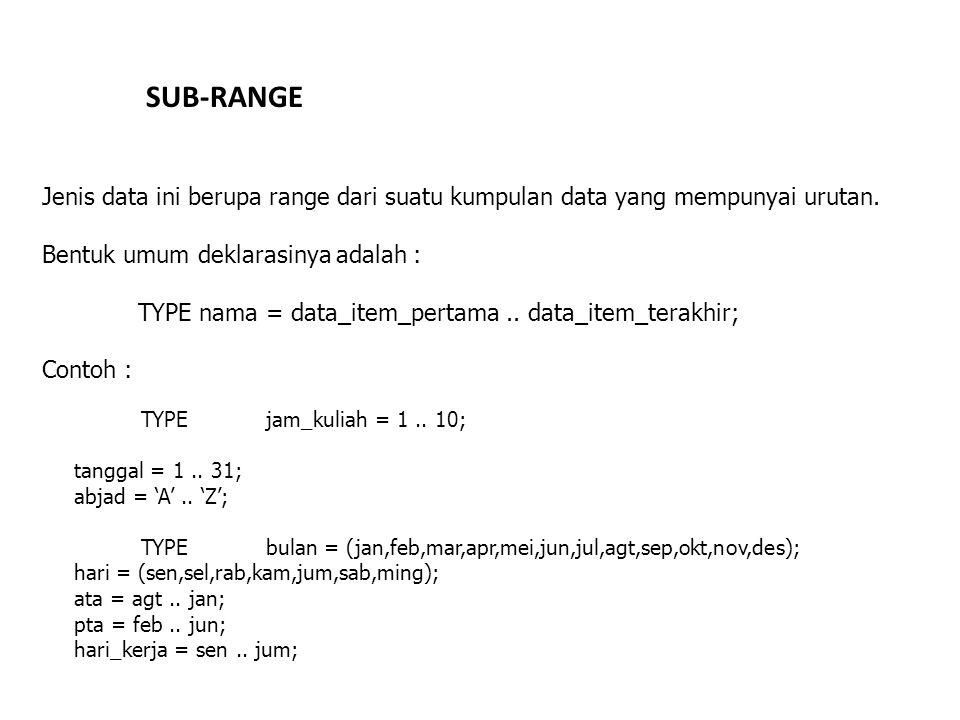 SUB-RANGE Jenis data ini berupa range dari suatu kumpulan data yang mempunyai urutan. Bentuk umum deklarasinya adalah :