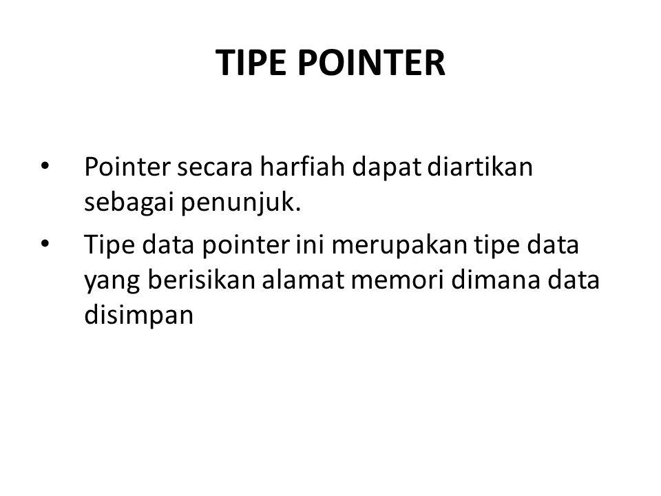TIPE POINTER Pointer secara harfiah dapat diartikan sebagai penunjuk.