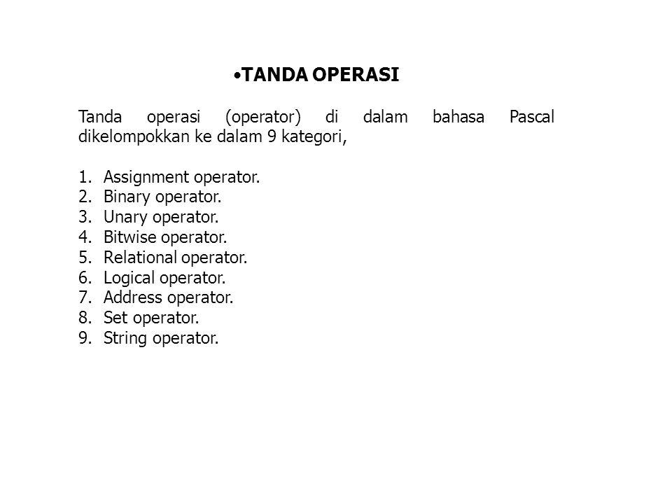 TANDA OPERASI Tanda operasi (operator) di dalam bahasa Pascal dikelompokkan ke dalam 9 kategori, Assignment operator.