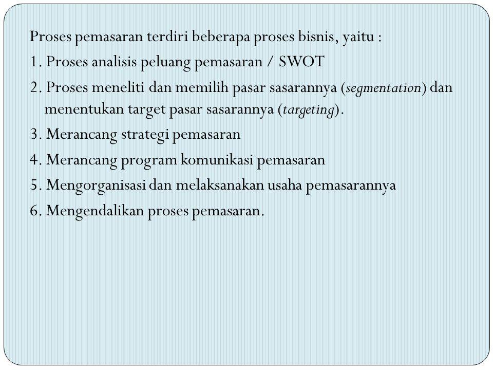 Proses pemasaran terdiri beberapa proses bisnis, yaitu :