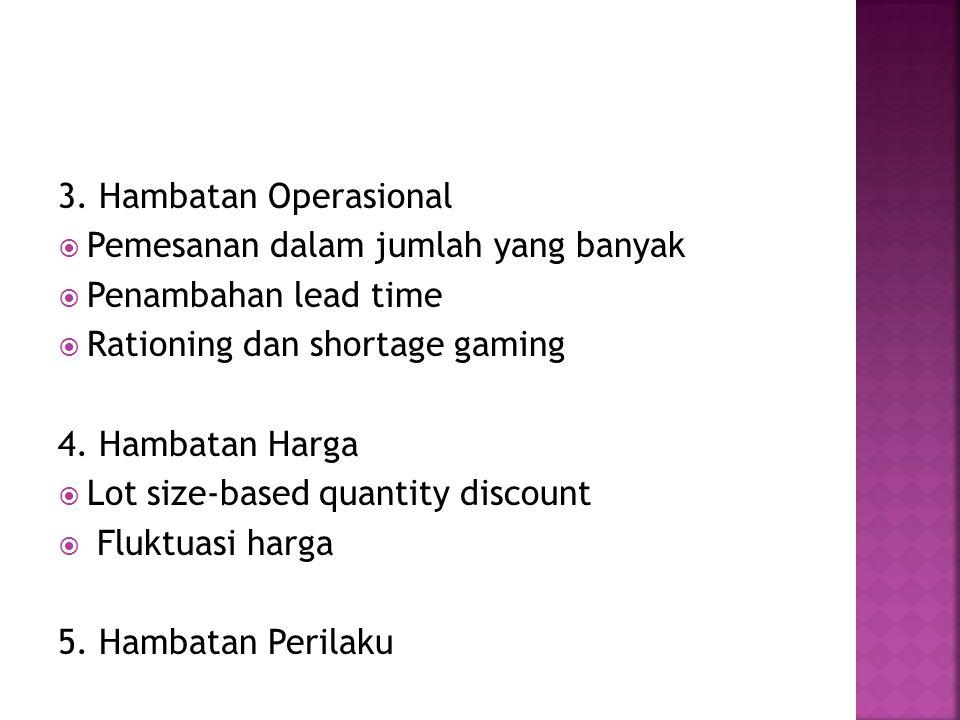 3. Hambatan Operasional Pemesanan dalam jumlah yang banyak. Penambahan lead time. Rationing dan shortage gaming.