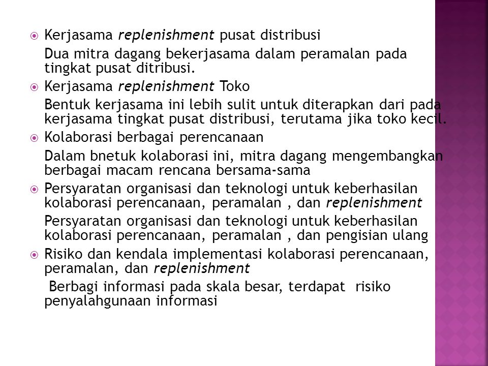 Kerjasama replenishment pusat distribusi