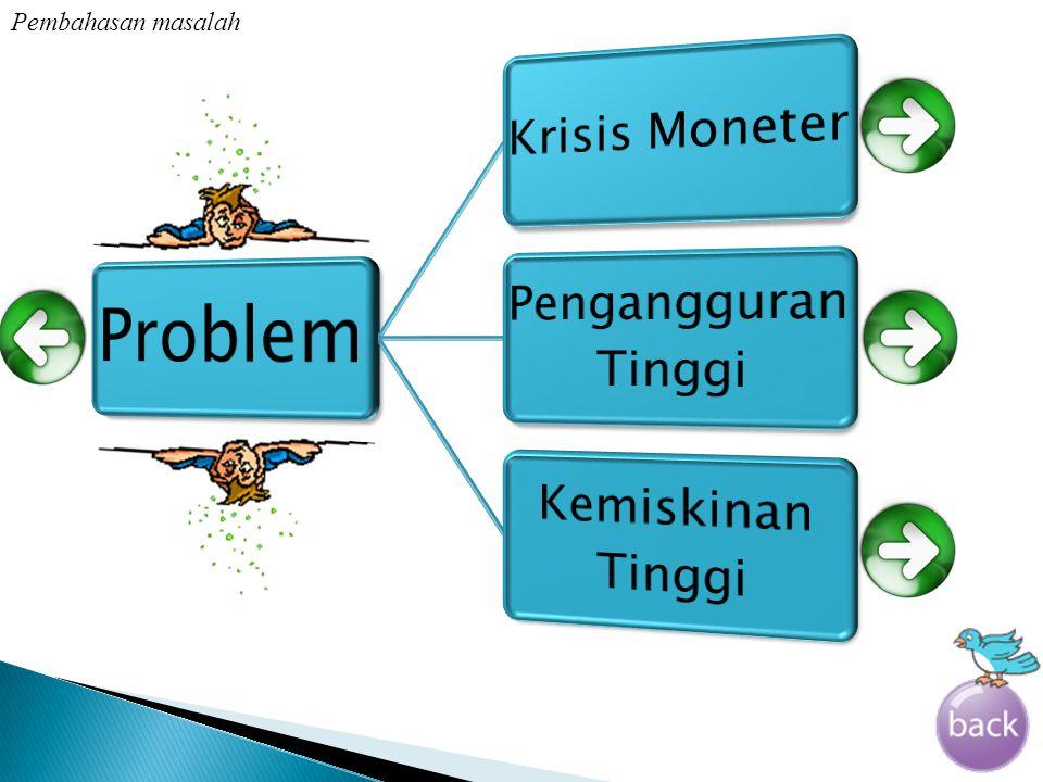 Problem Pembahasan masalah Krisis Moneter Pengangguran Tinggi