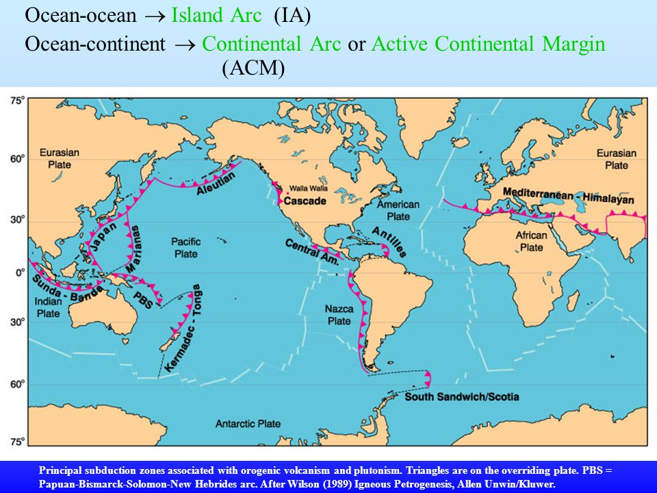 Ocean-ocean  Island Arc (IA)