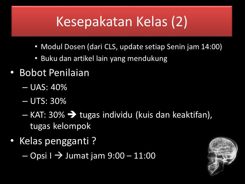 Kesepakatan Kelas (2) Bobot Penilaian Kelas pengganti UAS: 40%