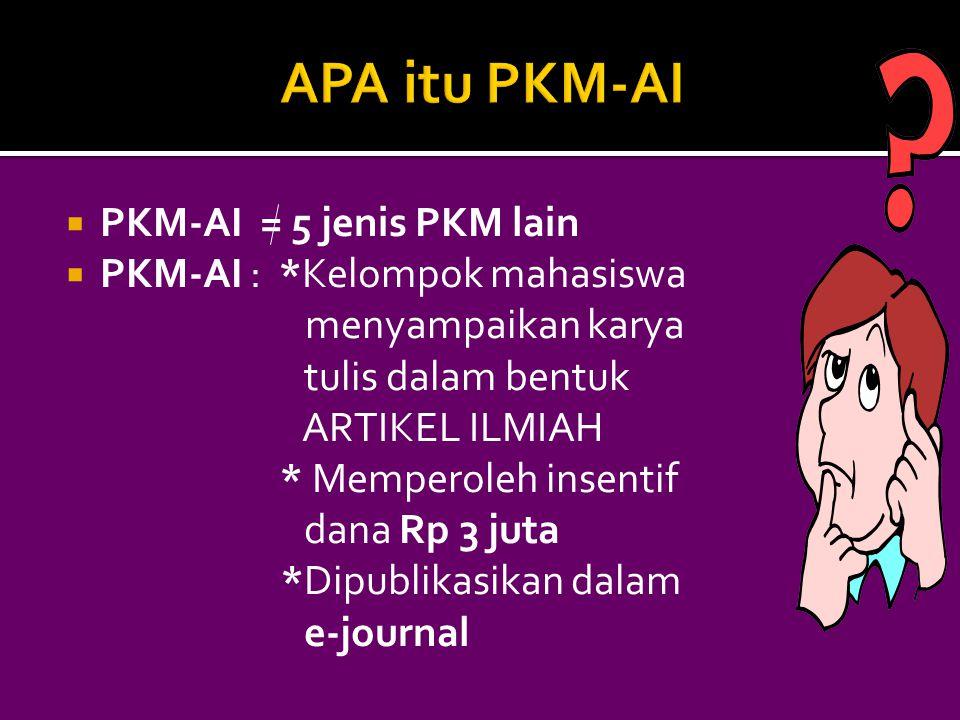APA itu PKM-AI PKM-AI = 5 jenis PKM lain