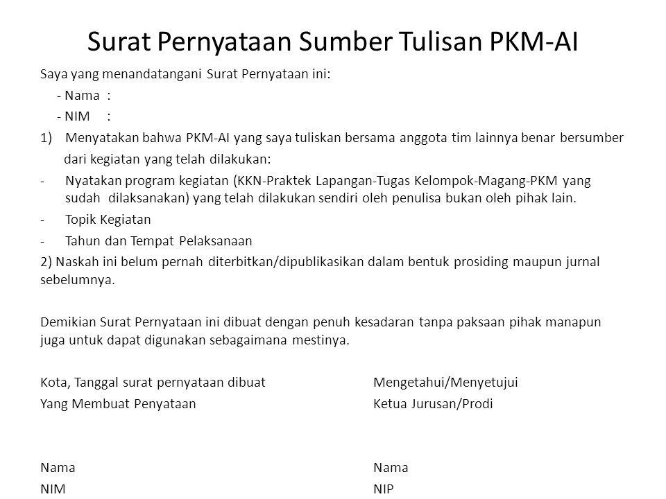 Surat Pernyataan Sumber Tulisan PKM-AI