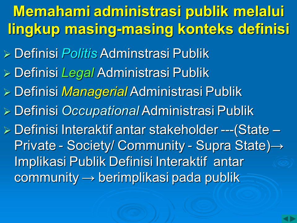 Memahami administrasi publik melalui lingkup masing-masing konteks definisi