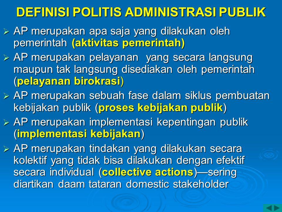 DEFINISI POLITIS ADMINISTRASI PUBLIK