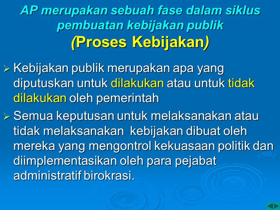 AP merupakan sebuah fase dalam siklus pembuatan kebijakan publik (Proses Kebijakan)