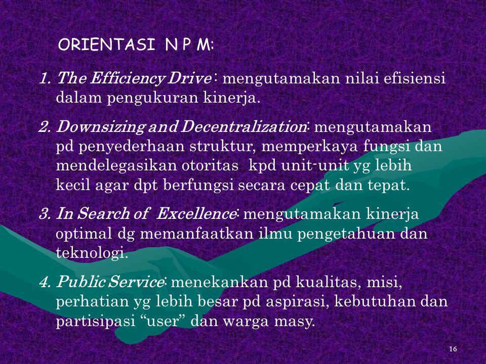 ORIENTASI N P M: The Efficiency Drive : mengutamakan nilai efisiensi dalam pengukuran kinerja.