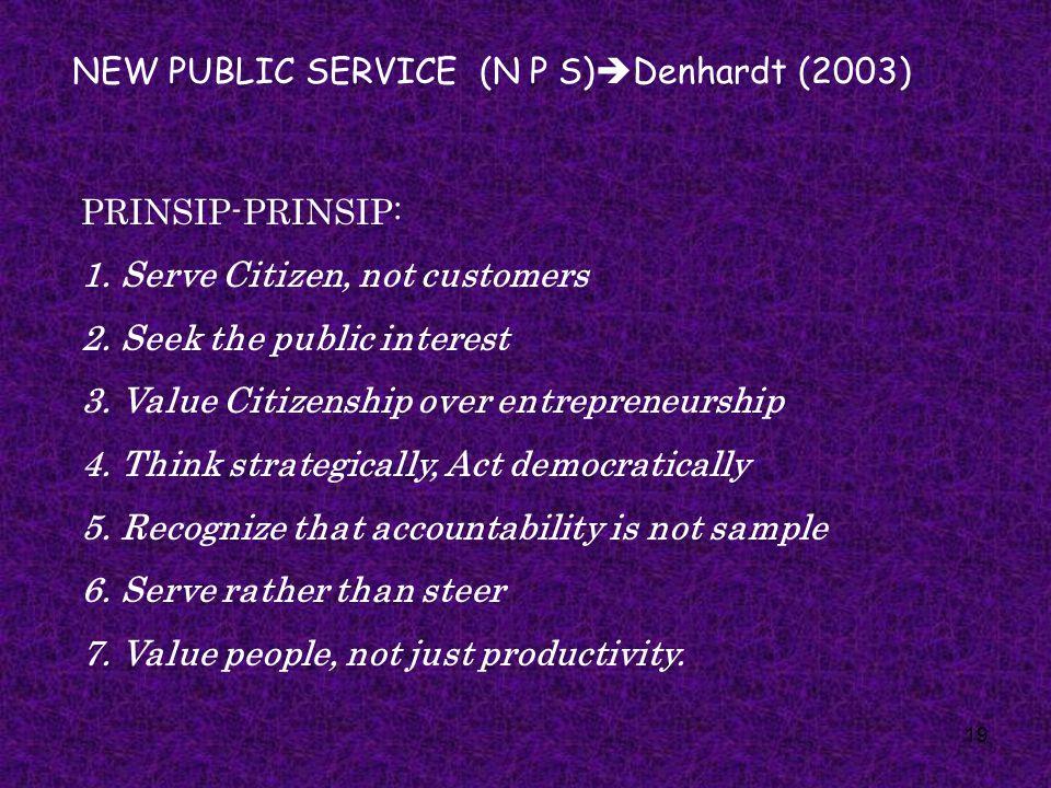 NEW PUBLIC SERVICE (N P S)Denhardt (2003)