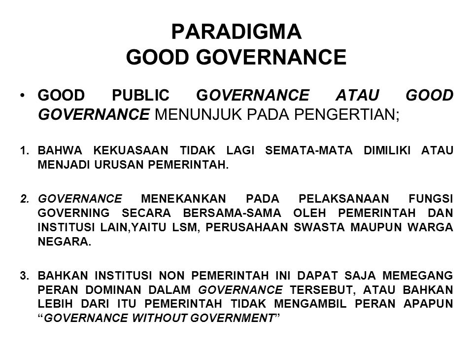PARADIGMA GOOD GOVERNANCE