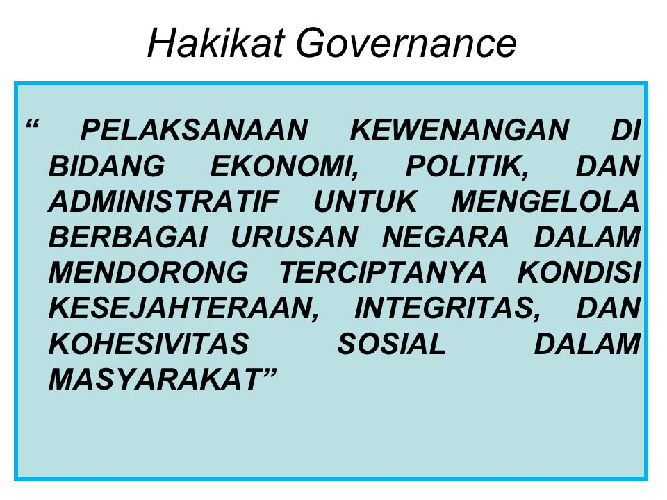 Hakikat Governance