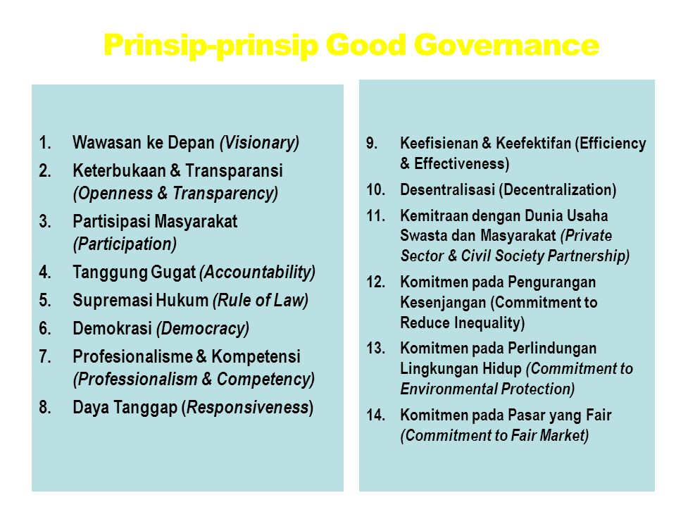 Prinsip-prinsip Good Governance