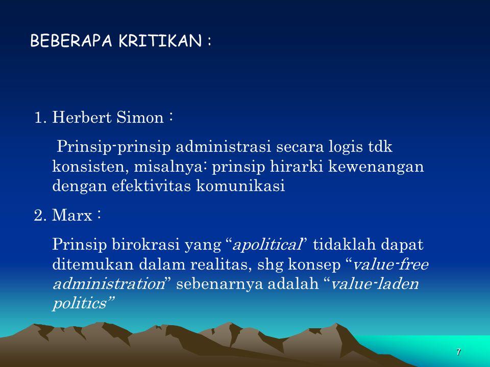 BEBERAPA KRITIKAN : Herbert Simon :