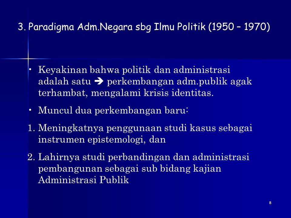Paradigma Adm.Negara sbg Ilmu Politik (1950 – 1970)