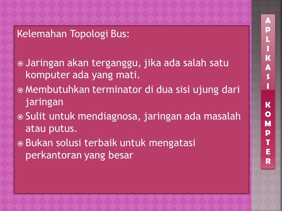 Kelemahan Topologi Bus: