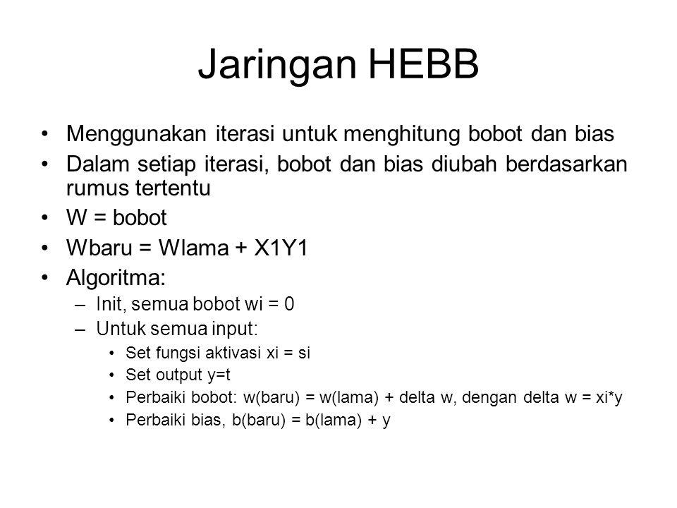 Jaringan HEBB Menggunakan iterasi untuk menghitung bobot dan bias
