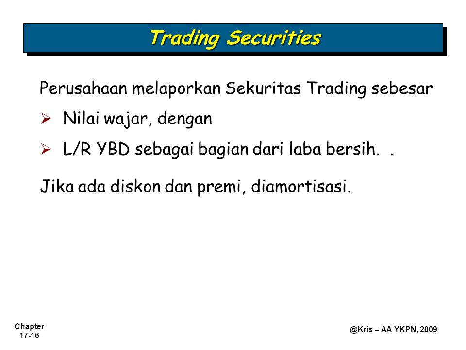 Trading Securities Perusahaan melaporkan Sekuritas Trading sebesar