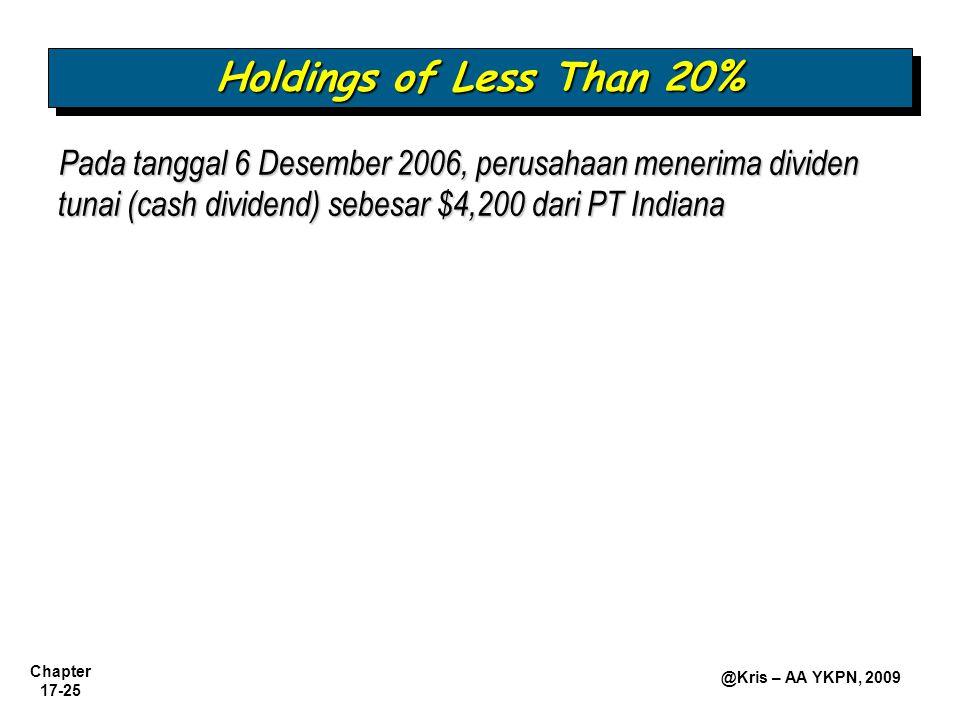 Holdings of Less Than 20% Pada tanggal 6 Desember 2006, perusahaan menerima dividen tunai (cash dividend) sebesar $4,200 dari PT Indiana.