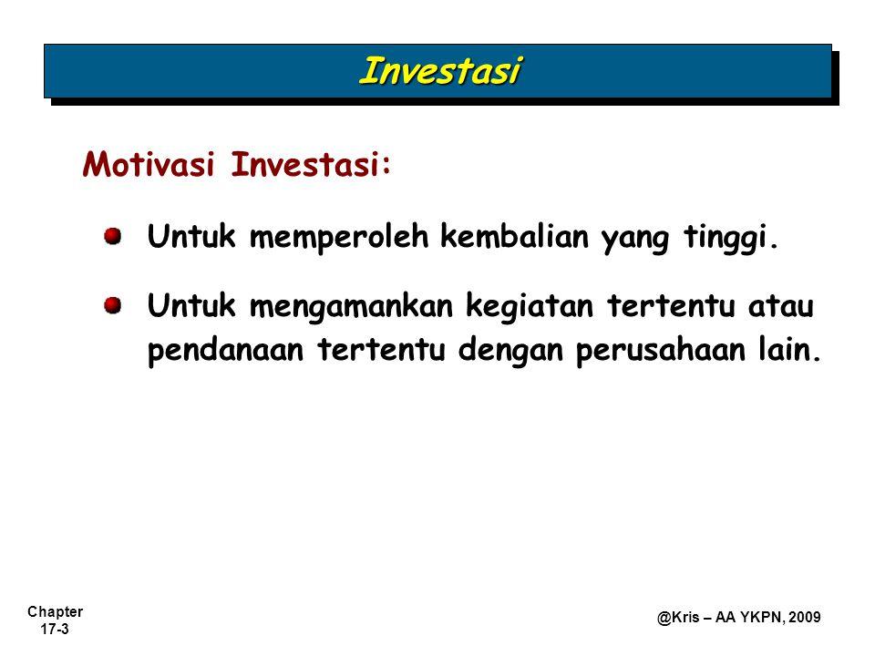 Investasi Motivasi Investasi: Untuk memperoleh kembalian yang tinggi.