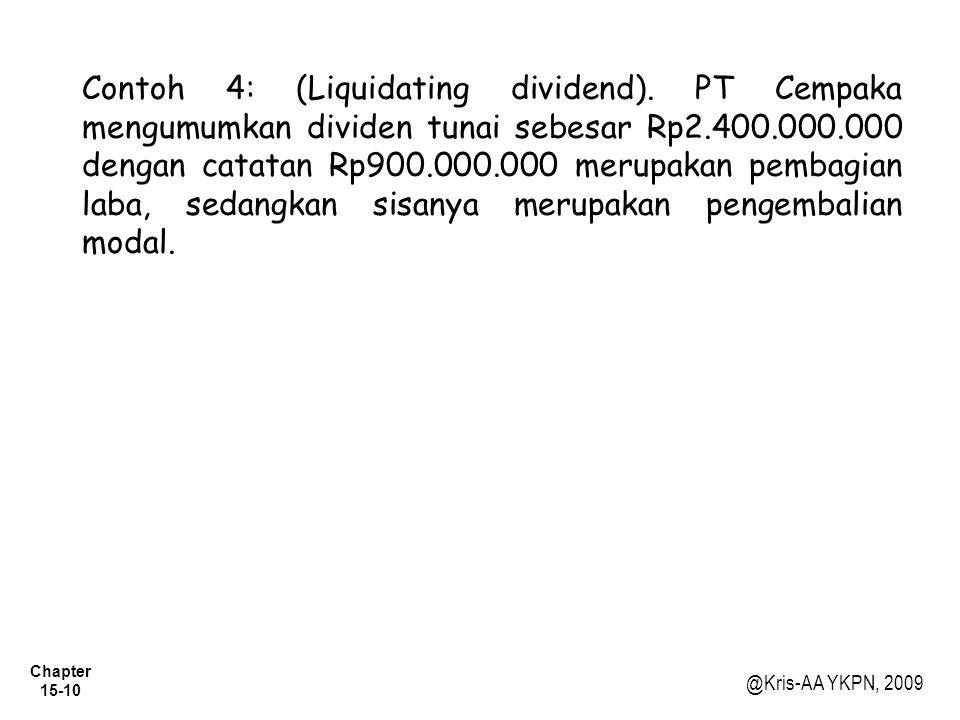 Contoh 4: (Liquidating dividend)