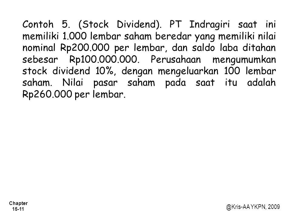 Contoh 5. (Stock Dividend). PT Indragiri saat ini memiliki 1
