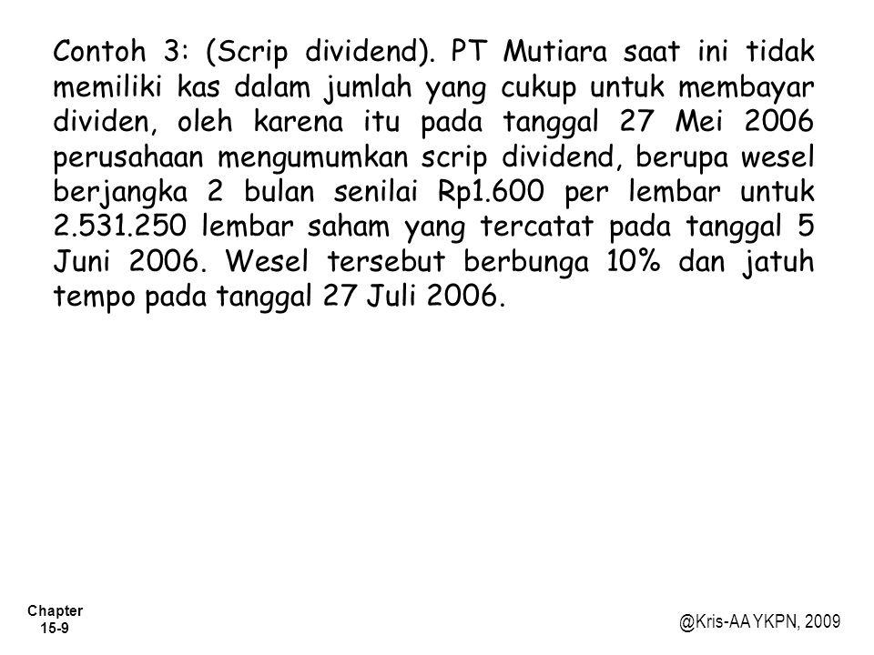 Contoh 3: (Scrip dividend)