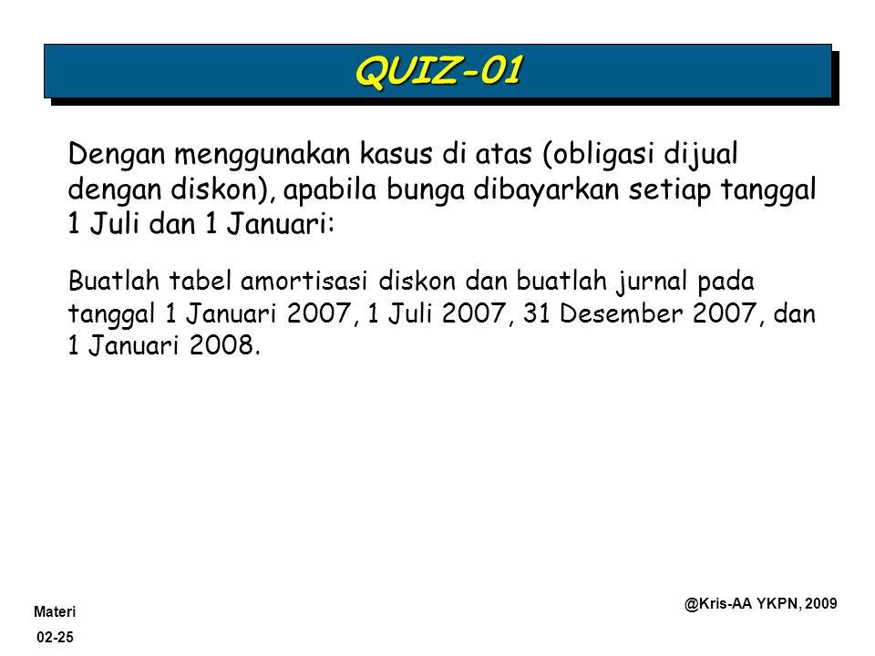 QUIZ-01 Dengan menggunakan kasus di atas (obligasi dijual dengan diskon), apabila bunga dibayarkan setiap tanggal 1 Juli dan 1 Januari: