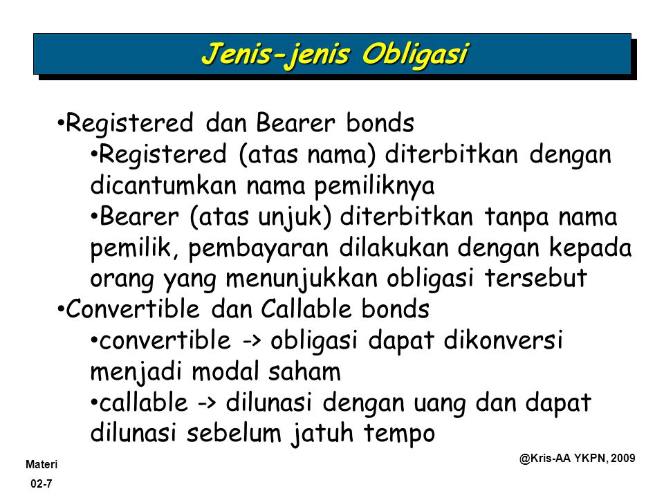 Jenis-jenis Obligasi Registered dan Bearer bonds