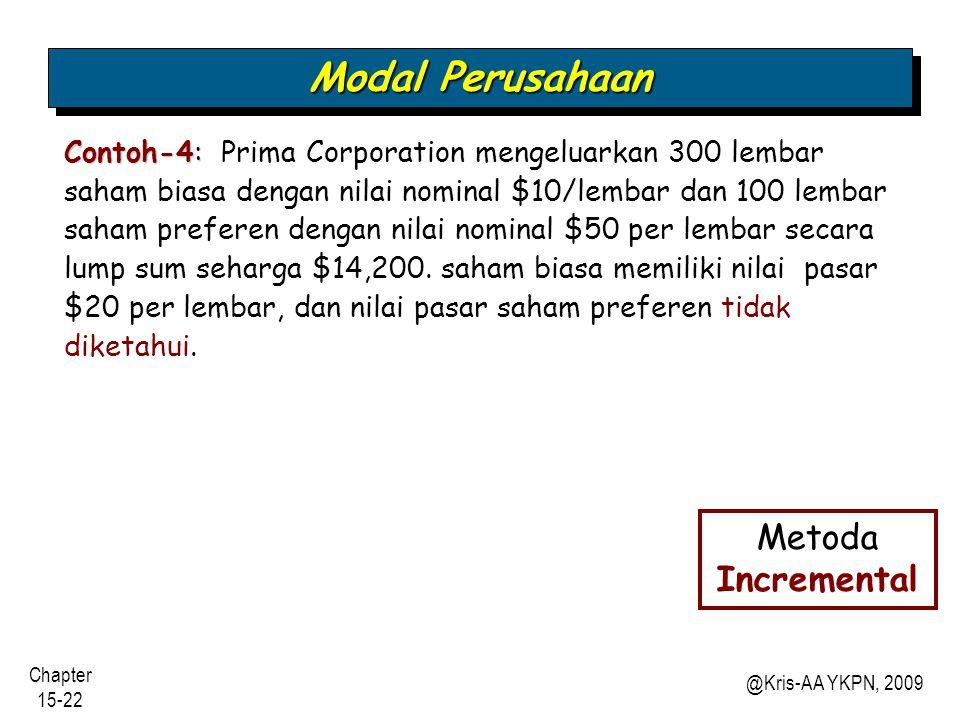 Modal Perusahaan Metoda Incremental