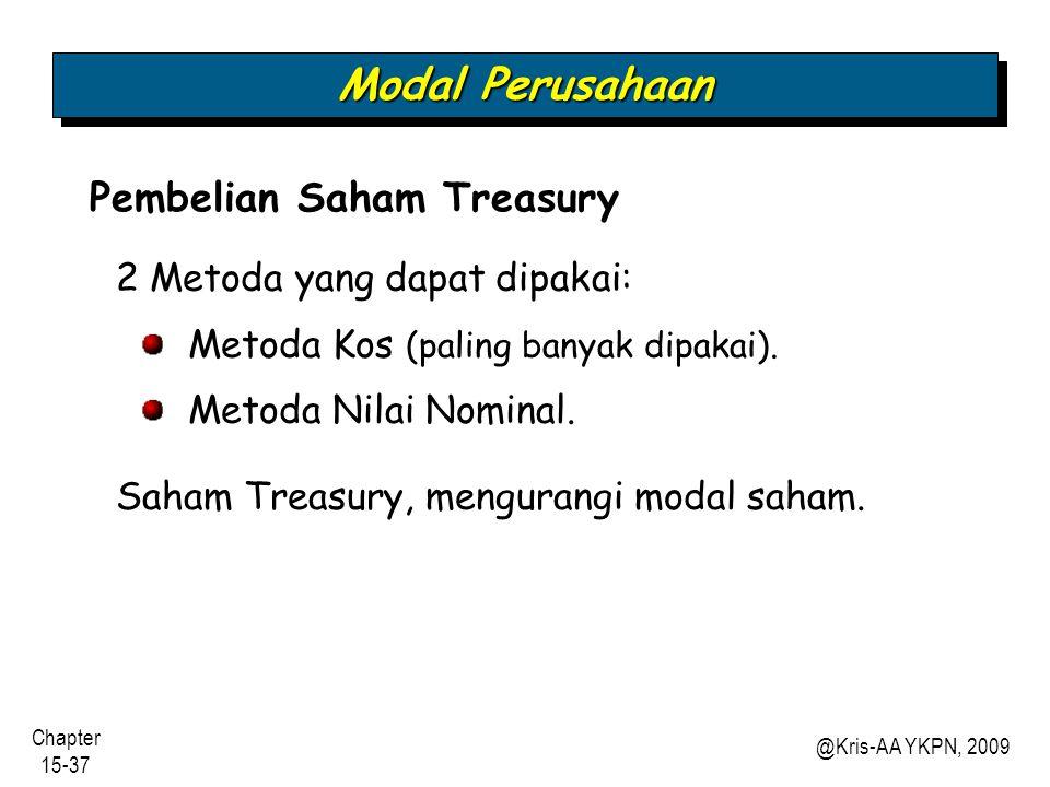Modal Perusahaan Pembelian Saham Treasury 2 Metoda yang dapat dipakai: