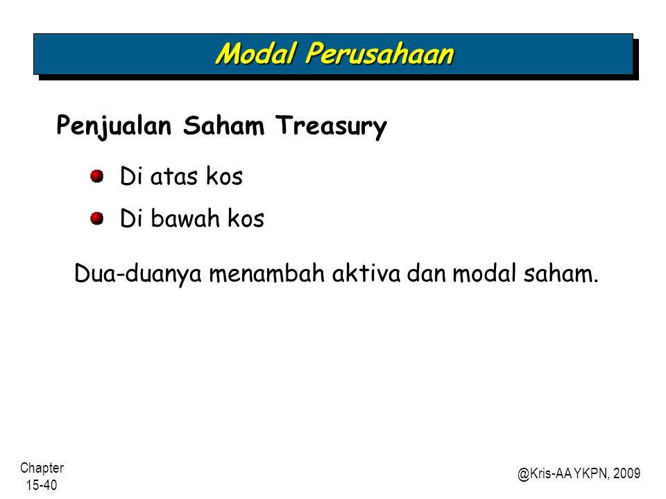 Modal Perusahaan Penjualan Saham Treasury Di atas kos Di bawah kos