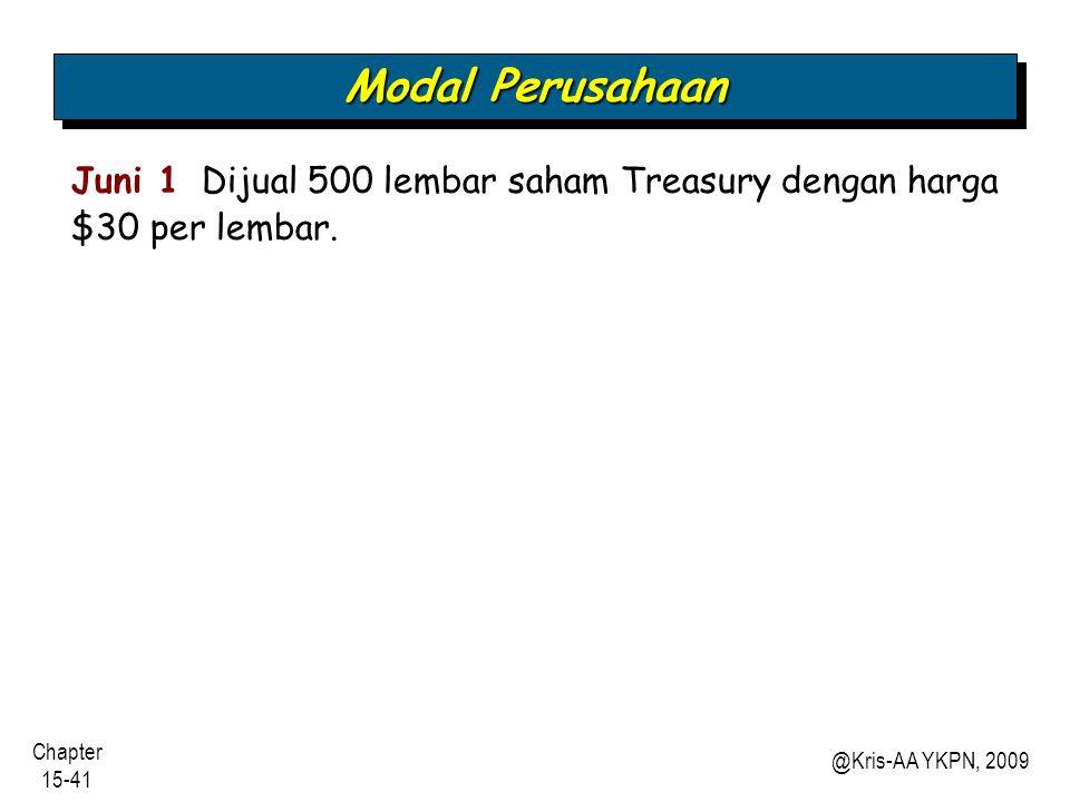 Modal Perusahaan Juni 1 Dijual 500 lembar saham Treasury dengan harga $30 per lembar.
