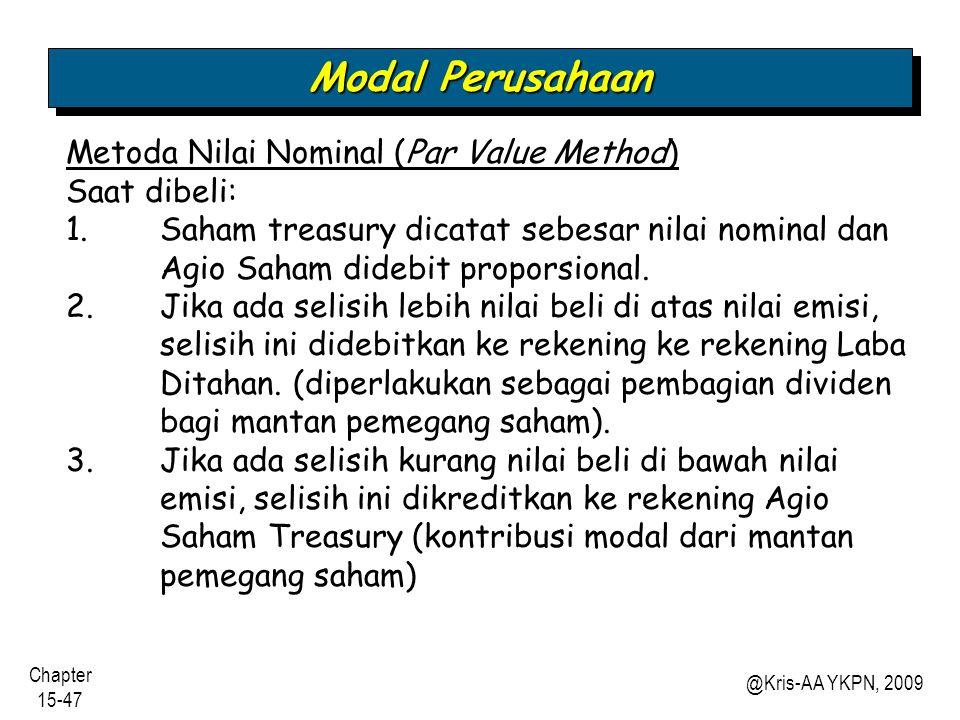 Modal Perusahaan Metoda Nilai Nominal (Par Value Method) Saat dibeli: