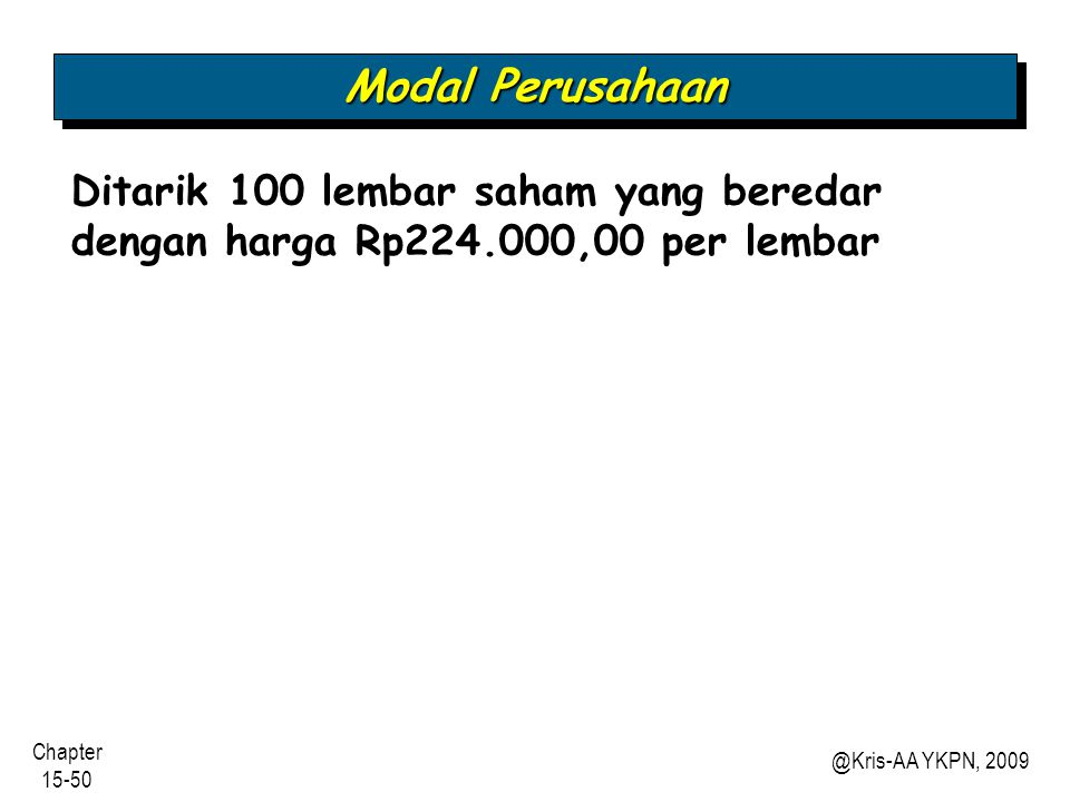 Modal Perusahaan Ditarik 100 lembar saham yang beredar dengan harga Rp224.000,00 per lembar