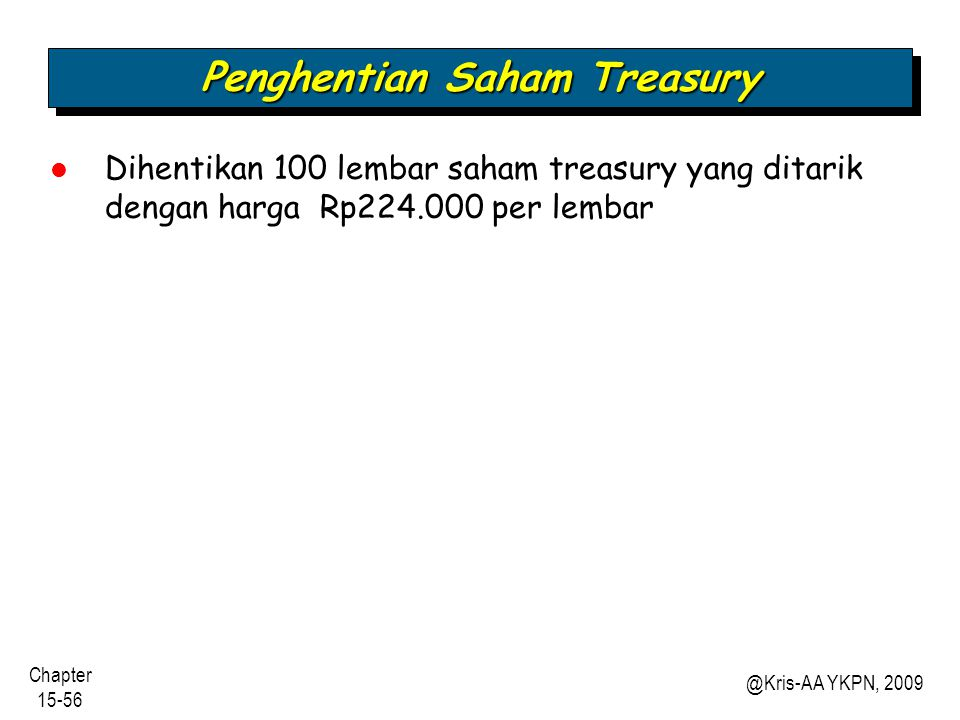 Penghentian Saham Treasury