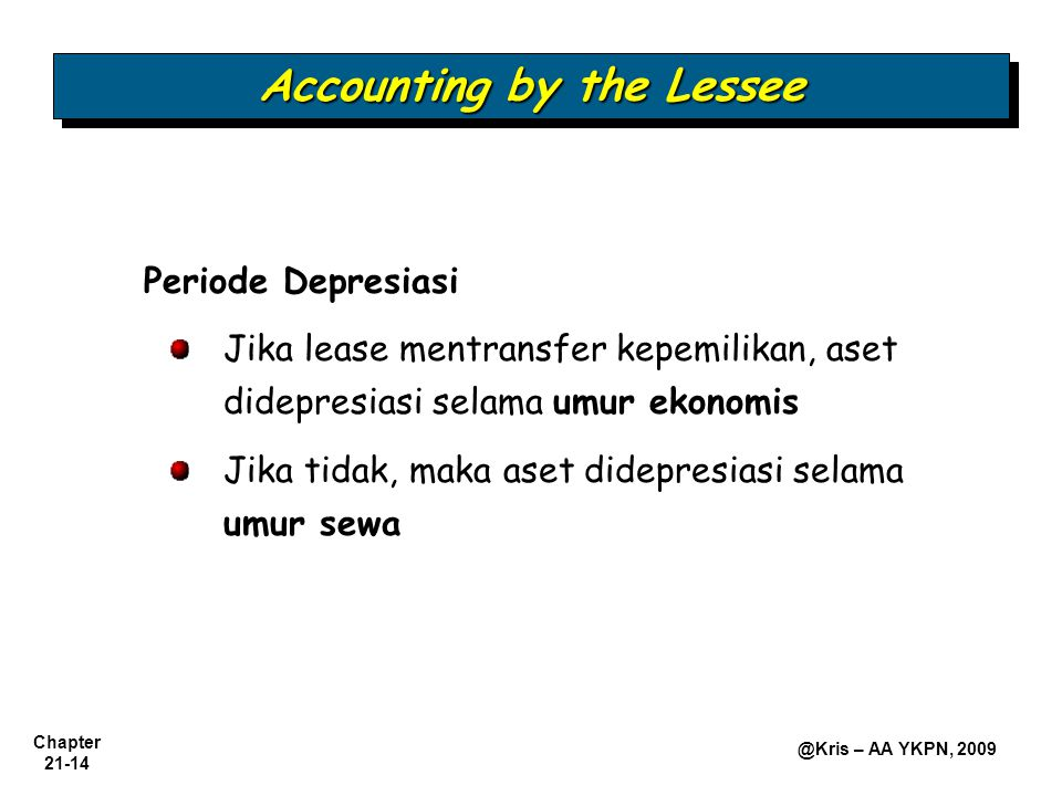 Accounting by the Lessee