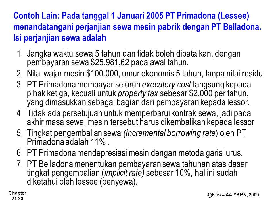 Contoh Lain: Pada tanggal 1 Januari 2005 PT Primadona (Lessee) menandatangani perjanjian sewa mesin pabrik dengan PT Belladona. Isi perjanjian sewa adalah