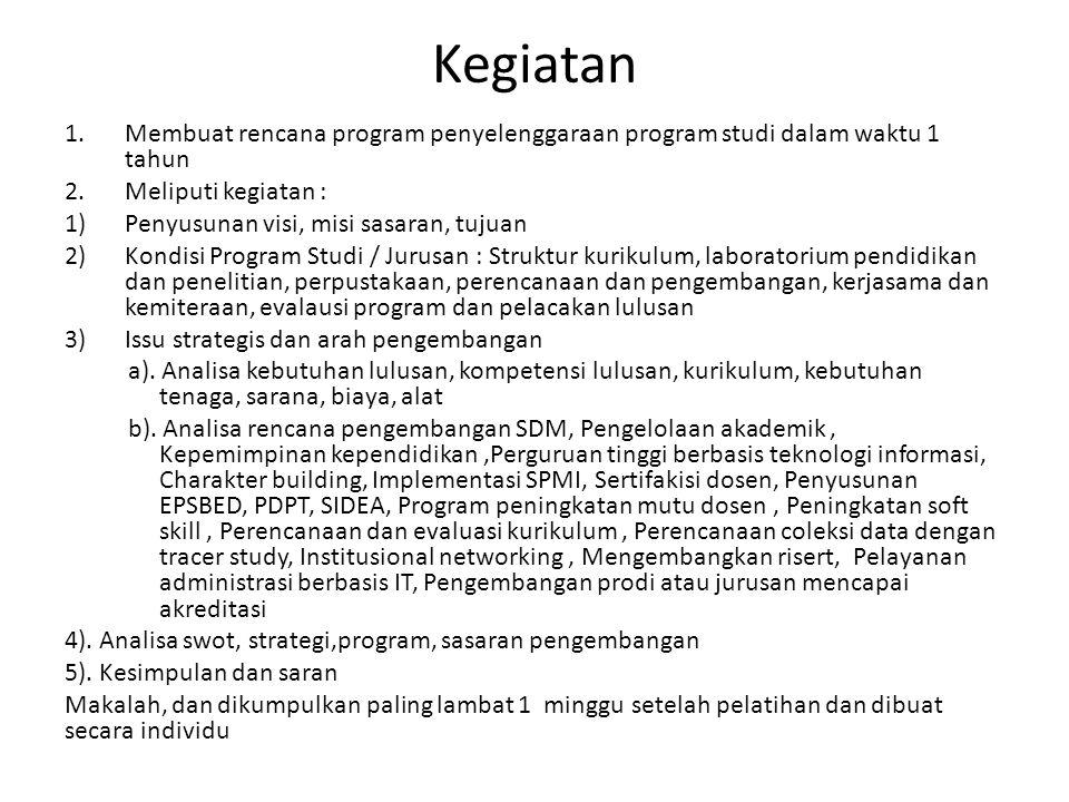Kegiatan Membuat rencana program penyelenggaraan program studi dalam waktu 1 tahun. Meliputi kegiatan :