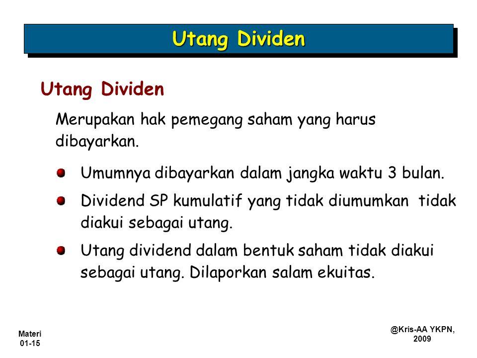 Utang Dividen Utang Dividen