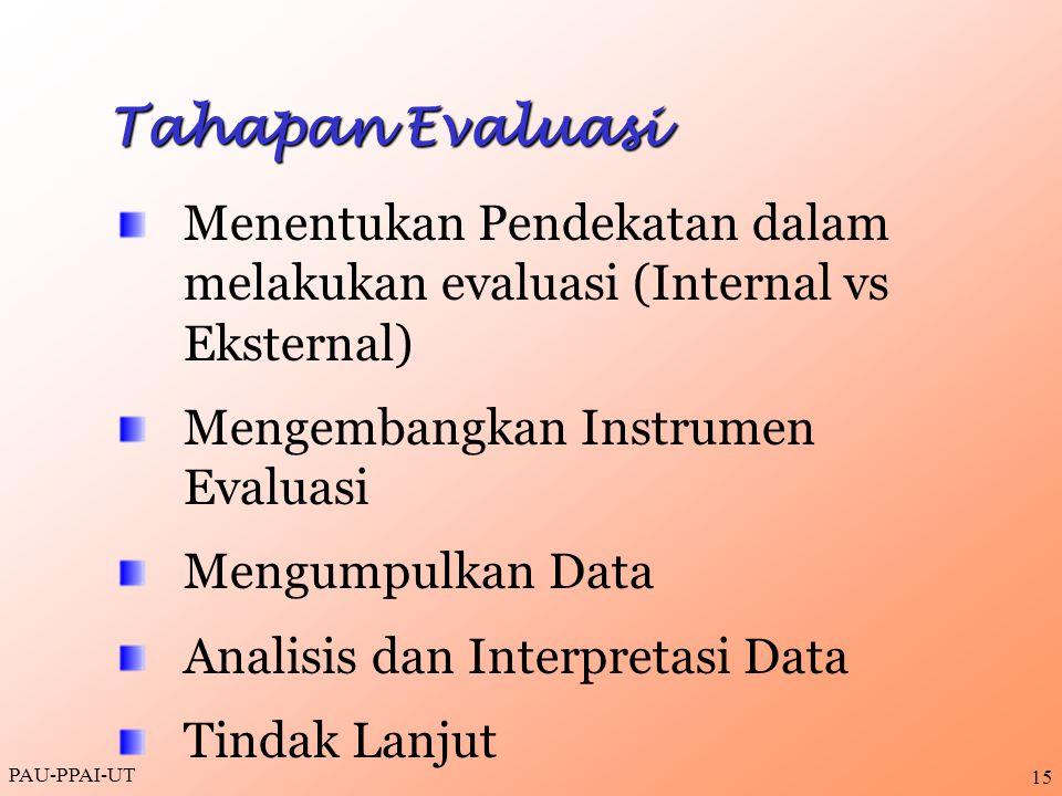 Tahapan Evaluasi Menentukan Pendekatan dalam melakukan evaluasi (Internal vs Eksternal) Mengembangkan Instrumen Evaluasi.