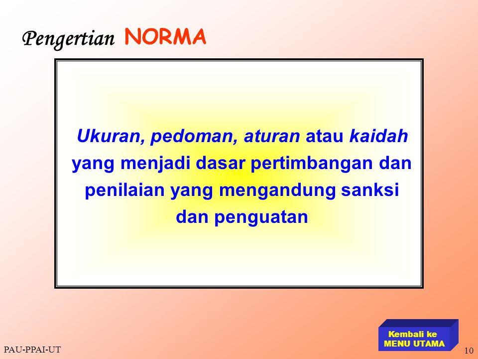 Pengertian NORMA. Ukuran, pedoman, aturan atau kaidah yang menjadi dasar pertimbangan dan penilaian yang mengandung sanksi dan penguatan.