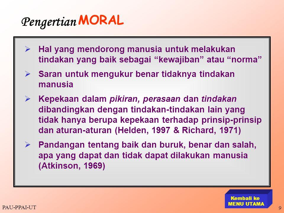 Pengertian MORAL. Hal yang mendorong manusia untuk melakukan tindakan yang baik sebagai kewajiban atau norma