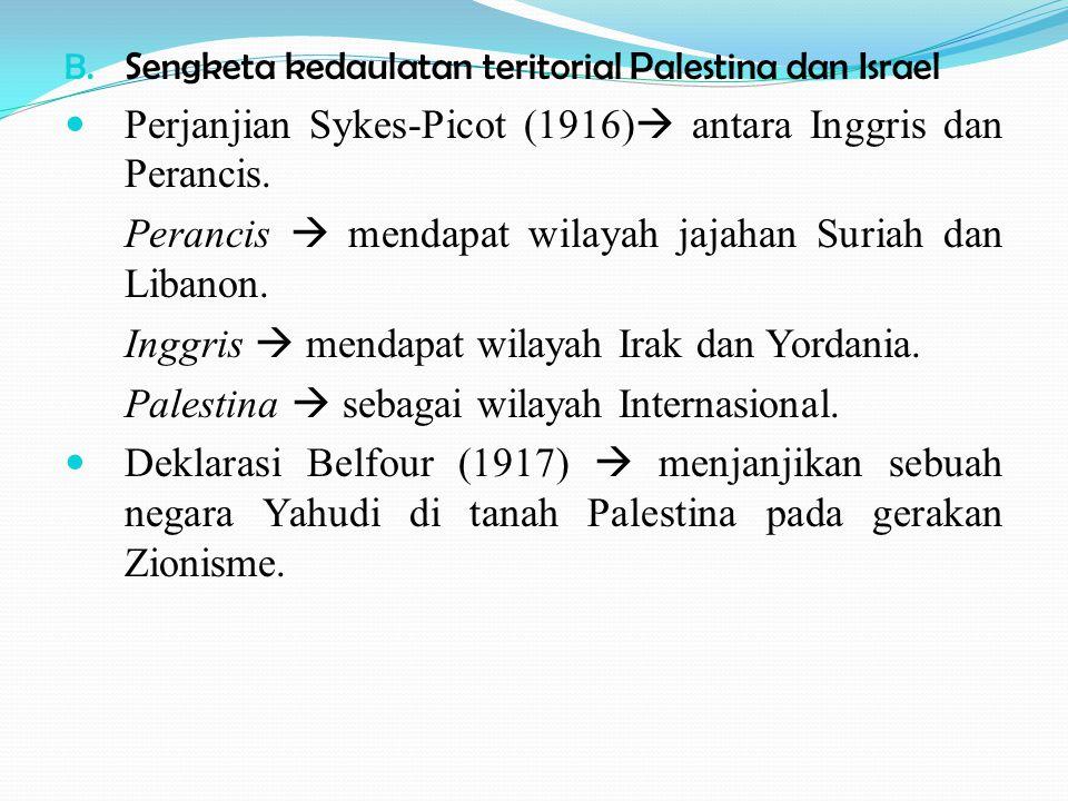 Perjanjian Sykes-Picot (1916) antara Inggris dan Perancis.
