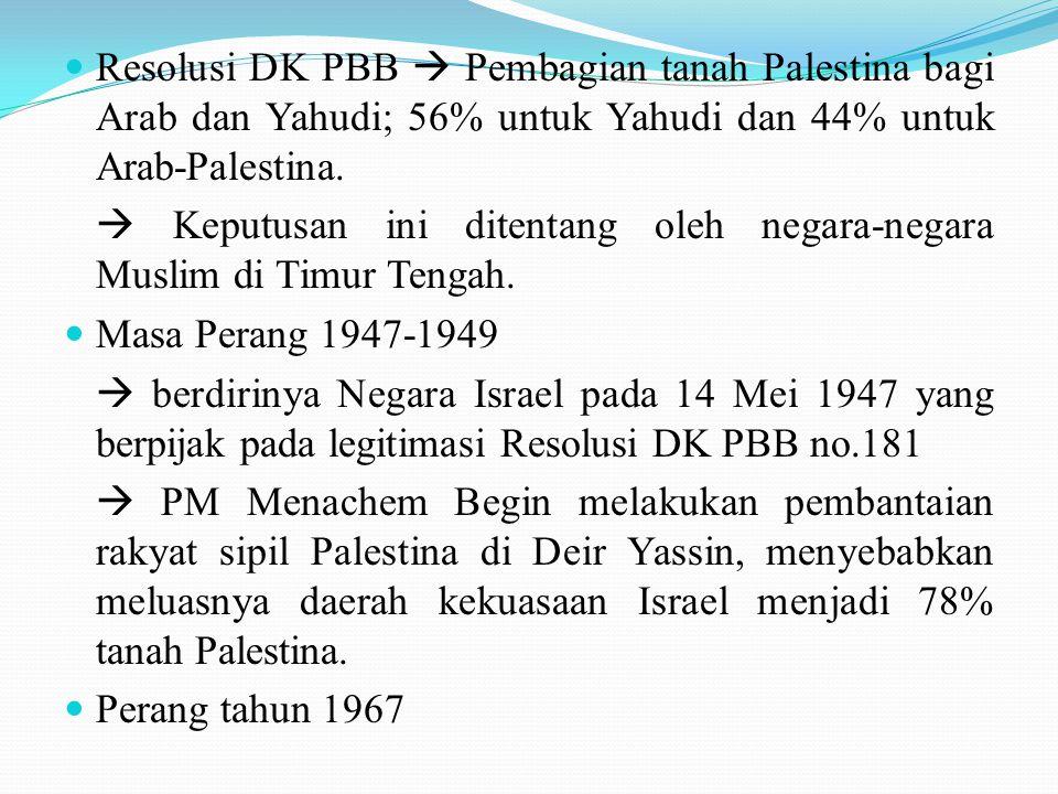 Resolusi DK PBB  Pembagian tanah Palestina bagi Arab dan Yahudi; 56% untuk Yahudi dan 44% untuk Arab-Palestina.