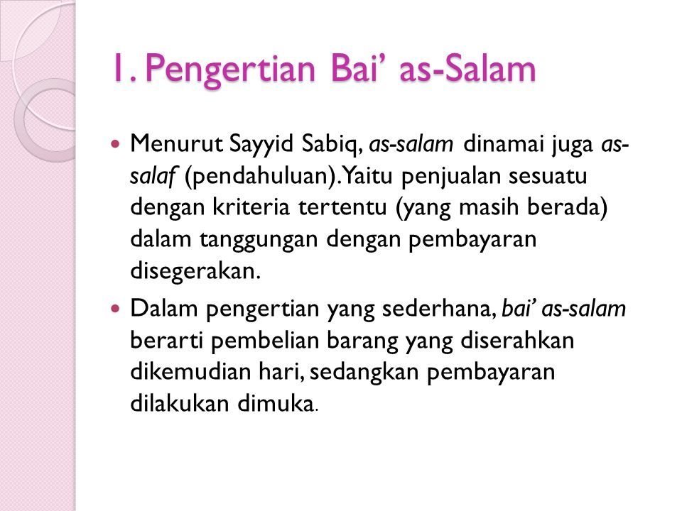 1. Pengertian Bai' as-Salam