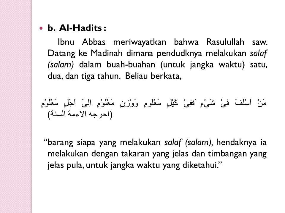 b. Al-Hadits :