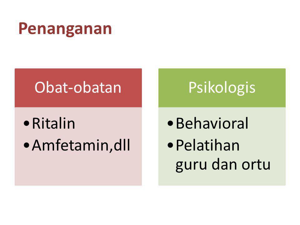 Penanganan Obat-obatan Ritalin Amfetamin,dll Psikologis Behavioral